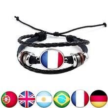 Модный национальный флаг кожаный браслет и браслет мужской дружбы День отца подарок для фанатов футбола
