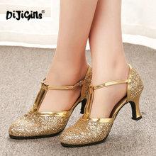 זהב נשים נעלי נשים משאבות נעלי ריקוד לטיני עקב נמוך עקבים נשי חתונה מסיבת נעלי זהב כסף זרוק חינם