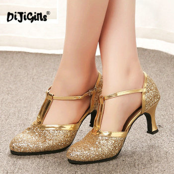 Gold Women Shoes Women Pumps Latin Dance Shoes heeled Low Heels Female Wedding Party Shoes Gold Silver Drop Shipping