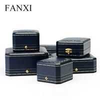 FANXI Royal Azul Caja de Papel De Cuero Grande Collar Forma Octogonal Caja De Joyería de Cuero En El Interior Con Botón Blanco