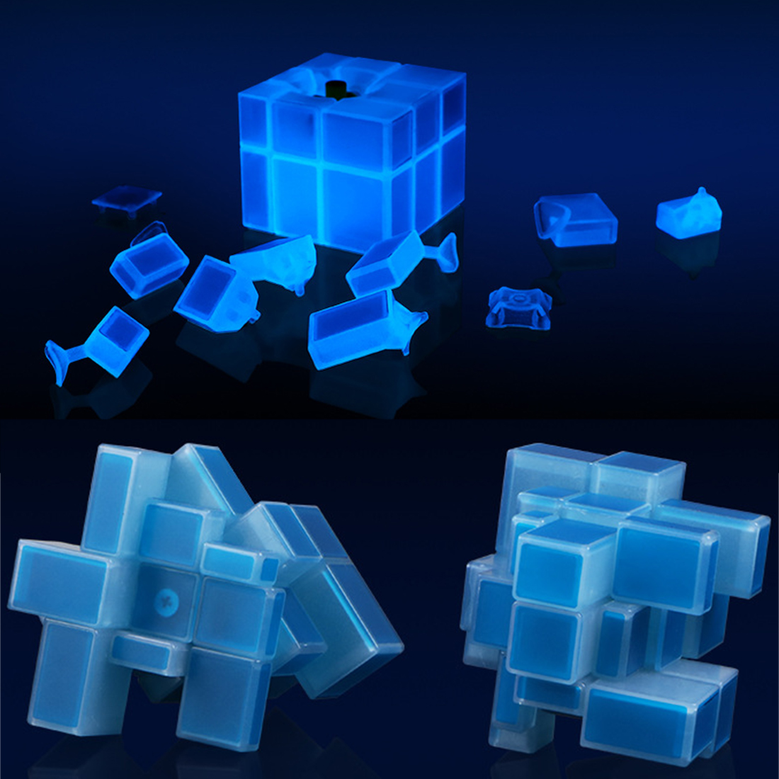 Image 5 - New QiYi 3X3X3 Mirror Blocks Luminous Magic Speed Cube Puzzle Cubo Magico Professional Learning&Educational Classic Toys Cube-in Magic Cubes from Toys & Hobbies