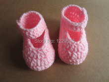 Crochet Baby Shoes in Bright Pink size 2.5 for 4-8 months