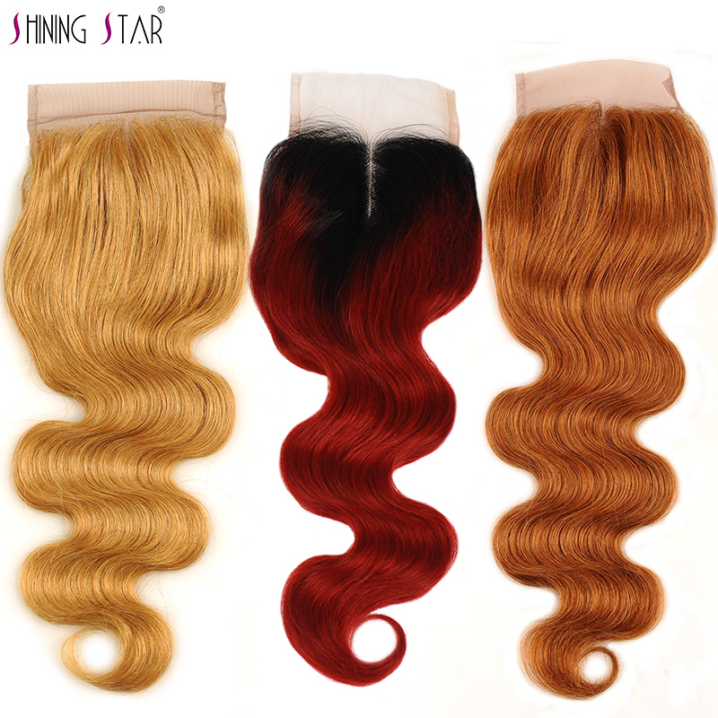 Ombre Red Burgundy 4X4 Brazilian Body Wave Closure Middle Part Honey Blonde Lace Closure Color Human