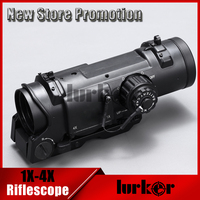 Hlurker Tactical Optical Rifle Scope Quick Detachable 1X 4X Optical Red Dot Scope Sight 4x Riflescope For Air Gun Hunting