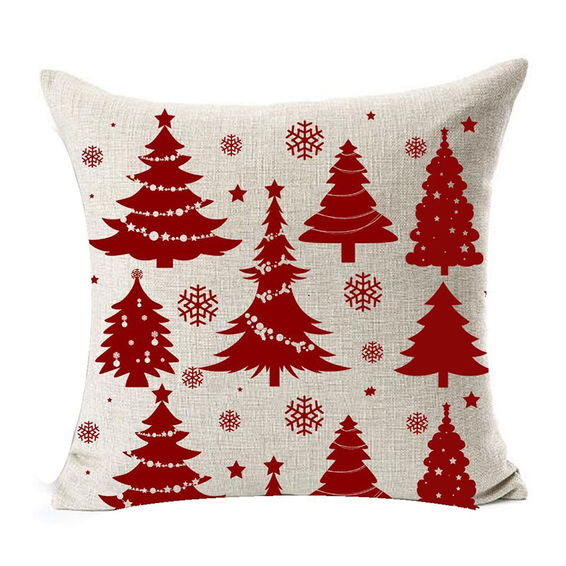 Season Blessing Beautiful Red Christmas Tree Snowflakes Merry Christmas Gifts flax Throw Pillow Case Cushion Cove for home