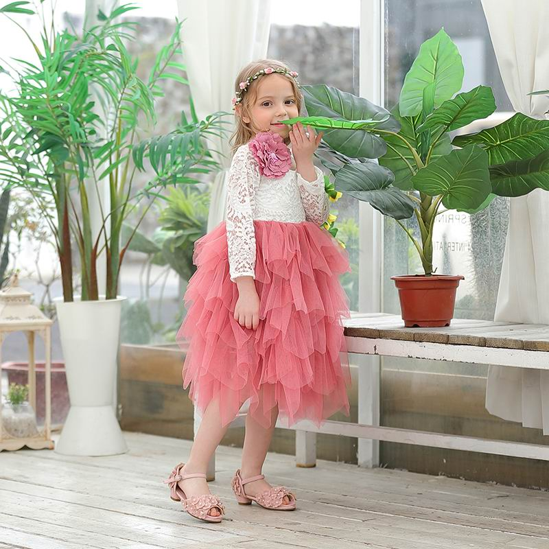 Wholesale Girls Lace Dress Flower Tiered Tulle Maxi Dress Long Sleeve Princess For Wedding Party Children
