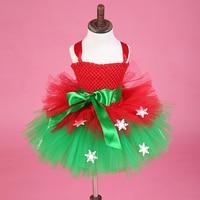 Christmas Girl Tutu Dress Cake Design Three Layer Tulle Snowflake Girl Tutu Dresses For Christmas Party with Green Sash