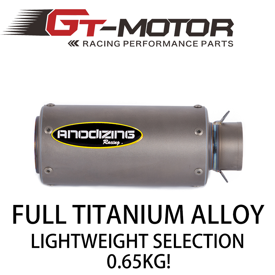 GT Motor - 51mm Motorcycle Exhaust Muffler Real Titanium Alloy Scooter Exhaust For YAMAHA R3 R15