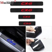 For Mazda CX-8 CX8 CX 8 Car Door Sill Scuff Plate Guard 4D Carbon Fiber Vinyl Stickers Threshold Auto Accessories