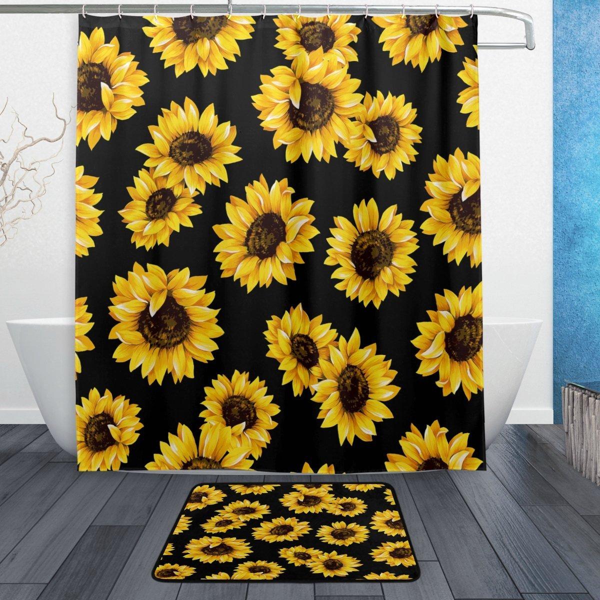 Us 18 39 20 Off Vintage Sunflower Flower Waterproof Polyester Fabric Shower Curtain With Hooks Doormat Bath Floor Mat Bathroom Home Decor In Shower