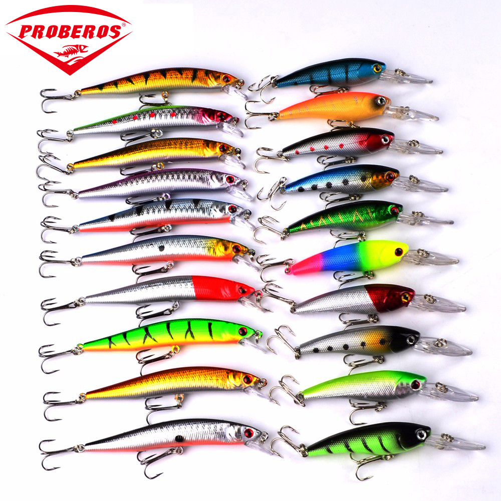 Proberos DWS251 20pcs/lot Minnow Fishing Lures 2 Models Crankbait Spinner Baits Wobblers carp fishing Fly Fishing Lure Set 30pcs set fishing lure kit hard spoon metal frog minnow jig head fishing artificial baits tackle accessories