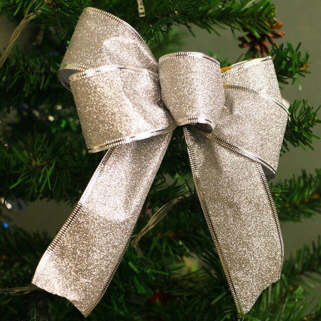 haochu 12pcslot bowknot christmas tree garland decoration glitter pretty bow christmas store item festive