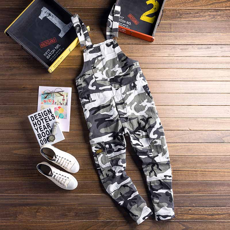 Fashin Men\`s Camouflage Denim Jumpsuit Pants Designer Multi-pockets Man Skinny Slim Fit Bib Overalls Casual Trousers For Male (10)