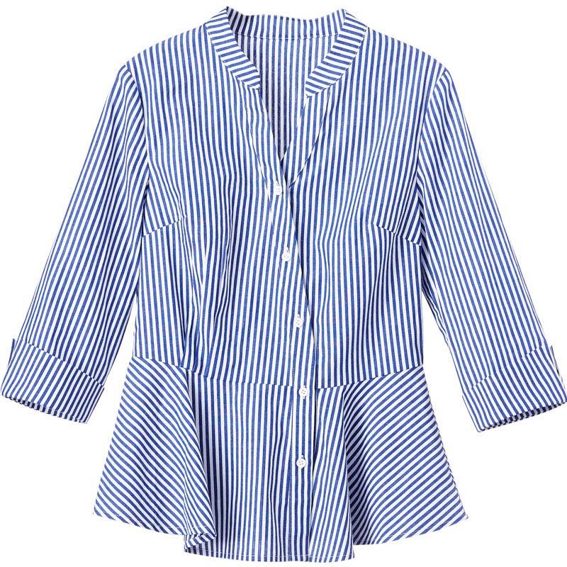 Синий и белый Рубашка в полоску Для женщин 2018 Летняя мода Питер Пэн воротник блузка короткий рукав пуговицы хлопковые топы и блузки