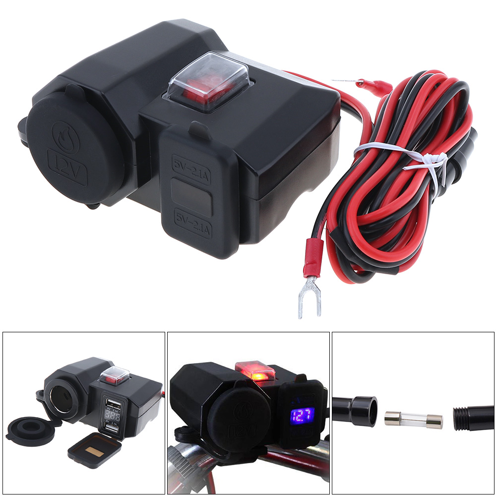 Motorcycle Charger 5V 2.1A Output Dual USB Ports and Cigarette lighter Socket  Design With waterproof independent switch v rod muscle vrscf