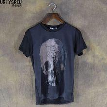 Dark Skull Head Hip Hop High Quality 100 Cotton Mens Silk T Shirt Men Large Sized