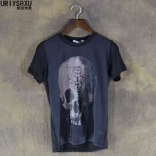 Dark Skull Head Hip Hop High Quality 100% Cotton Mens Silk T Shirt Men Large Sized Rock Punk T-shirt Men Fashion Summer Style