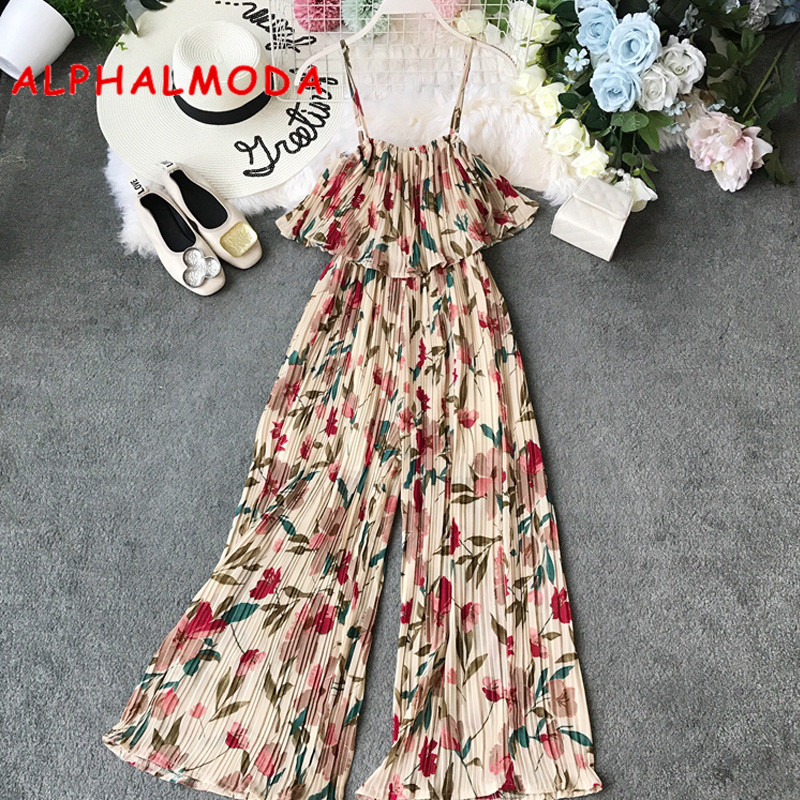 ALPHALMODA Summer 2019 New Bohemia Printed Floral   Jumpsuits   Ruffled Sling Design Ladies Holiday Casual Outfit Rompers
