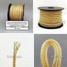 LN006210 8*(7*0,14 мм) 8 ядер 99.99% чистого серебра Argentum Ag+ Позолоченные Наушники DIY пользовательский кабель(не Telf) 8*1,15 мм OD: 4 мм