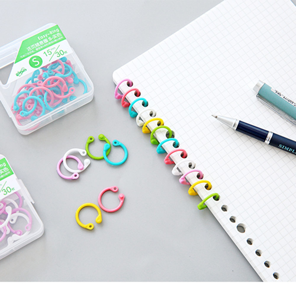 1 Box Colored Easy Ring Paper Book Loose Leaf Binder Multi-function Circle Calendar Ring Keychain Key Ring Color Random
