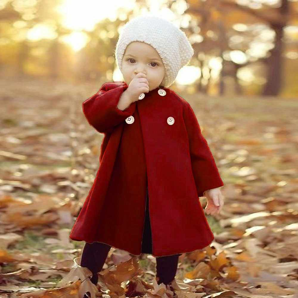 Autumn Winter Girls Kids Outwear Baby Long Sleeve Solid Child Cloak Button Jacket Warm Coat Clothes Suitable for 6M-3T girls