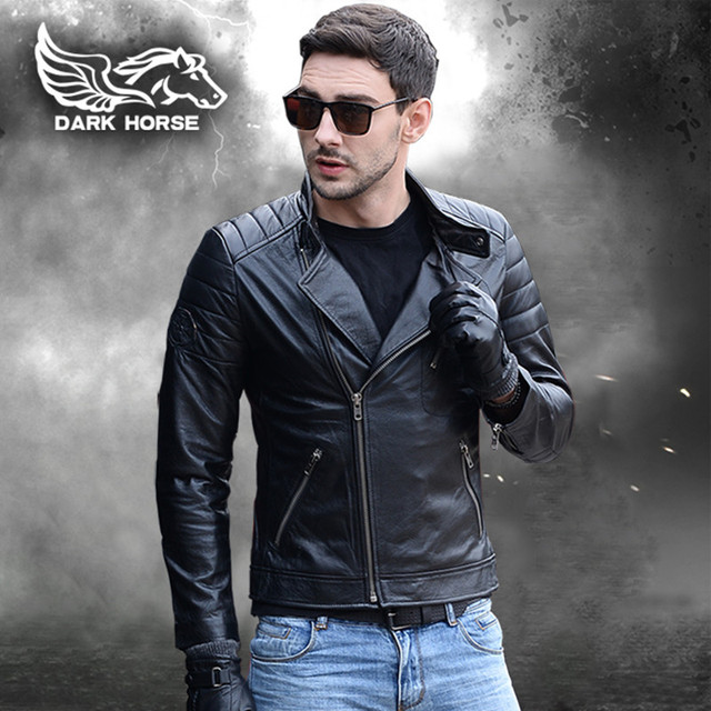 FREE SHIPPING 2017 Men Leather Skull Motorcycle Jacket Black Stand Collar Genuine Cowhide Short Slim Fit Men Winter Biker Coat