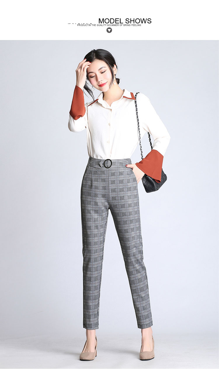 fd5d9fee323 2019 New Spring Casual Loose OL Harem Pants Plus Size Plaid Capris ...