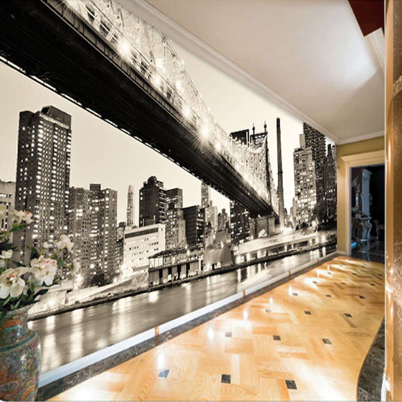 Home improvement custom 3d wall mural retro black and for Wallpaper home renovation