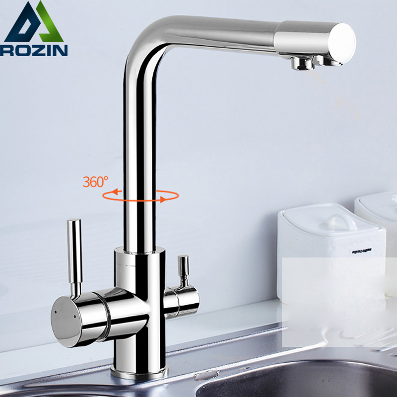 Chrome Brass Purified Water Outlet Kitchen Mixer Tap Kitchen Faucet Pure Water Filter Deck Mounted Dual Handles Hot Cold Taps