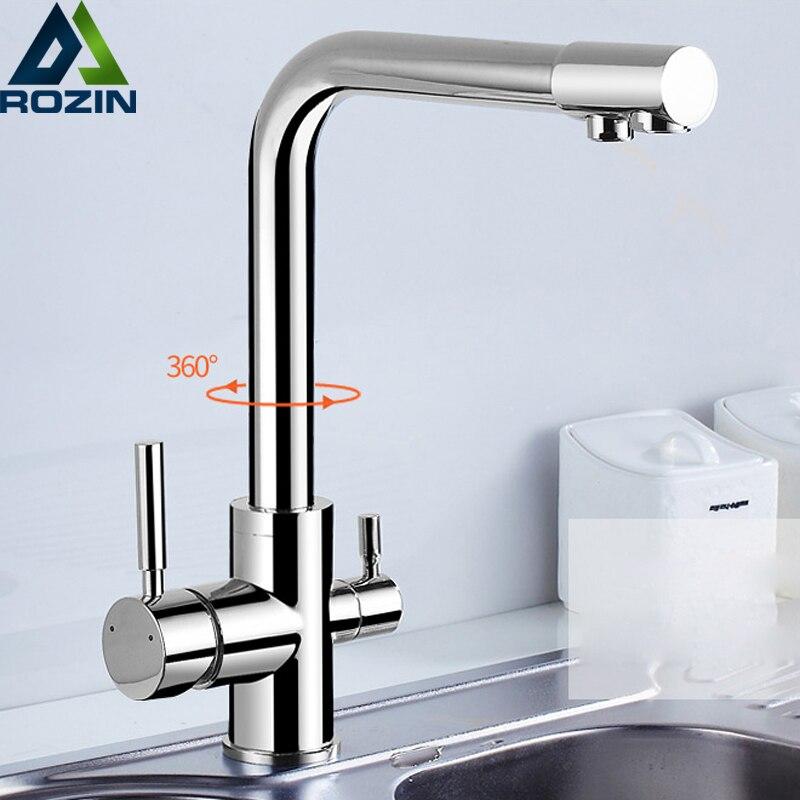 Хромированная латунь очищенная вода на выходе кухня смеситель кран чистый фильтр для воды на бортике двойные ручки