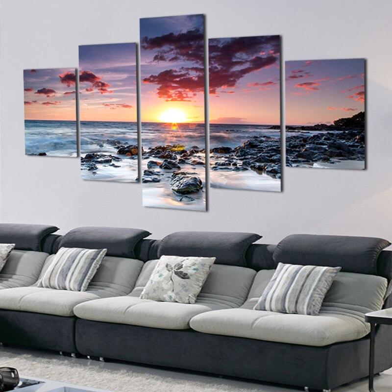 5 gab. Bez rāmja pludmales saulrieta kvēlspuldze apdrukāta sienas māksla Ziemassvētku rotājumu apgleznošana Moduļu sienu attēlu dekors mājām