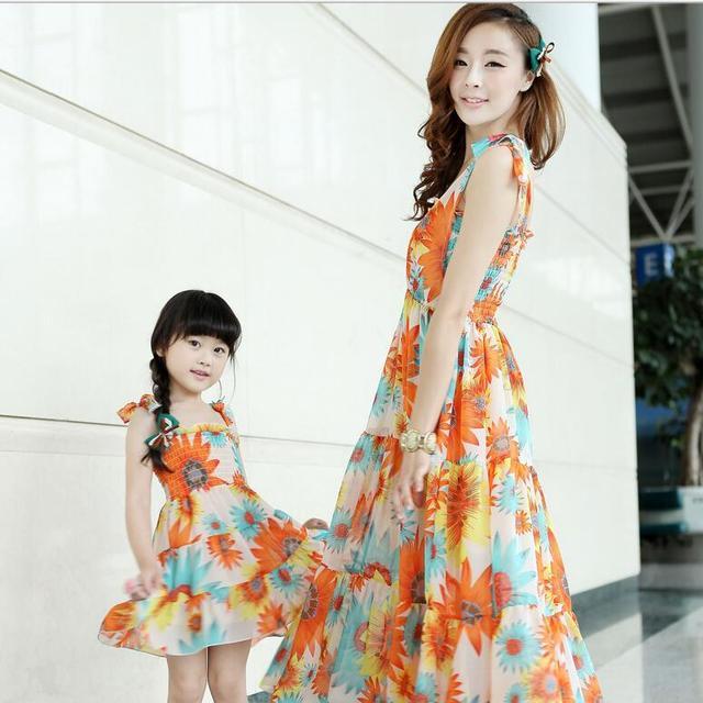 Vestido de verano vestidos de madre e hija familia trajes a juego vestidos maxi largo sin mangas de la flor de naranja vestido de sundress de las muchachas