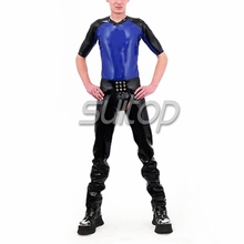 Suitopheavy latex chaps with brief latex shirt