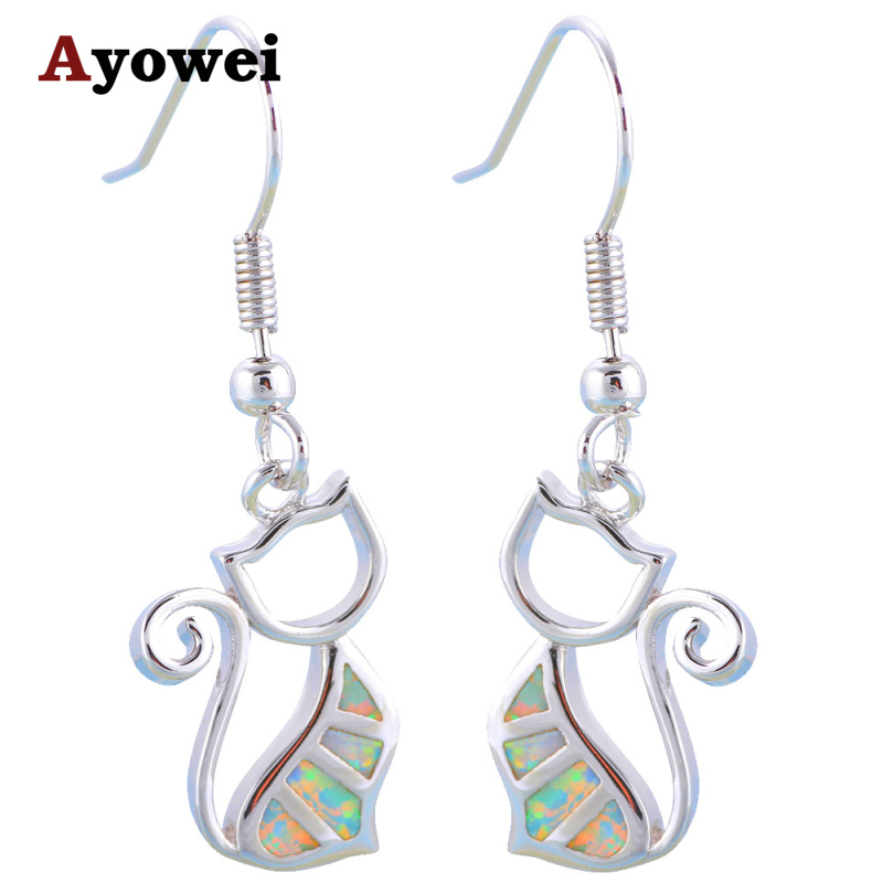 Ayowei Hot Cat Cat Design Pink Fire Opal 925 Silver Drop обици - Изящни бижута - Снимка 6