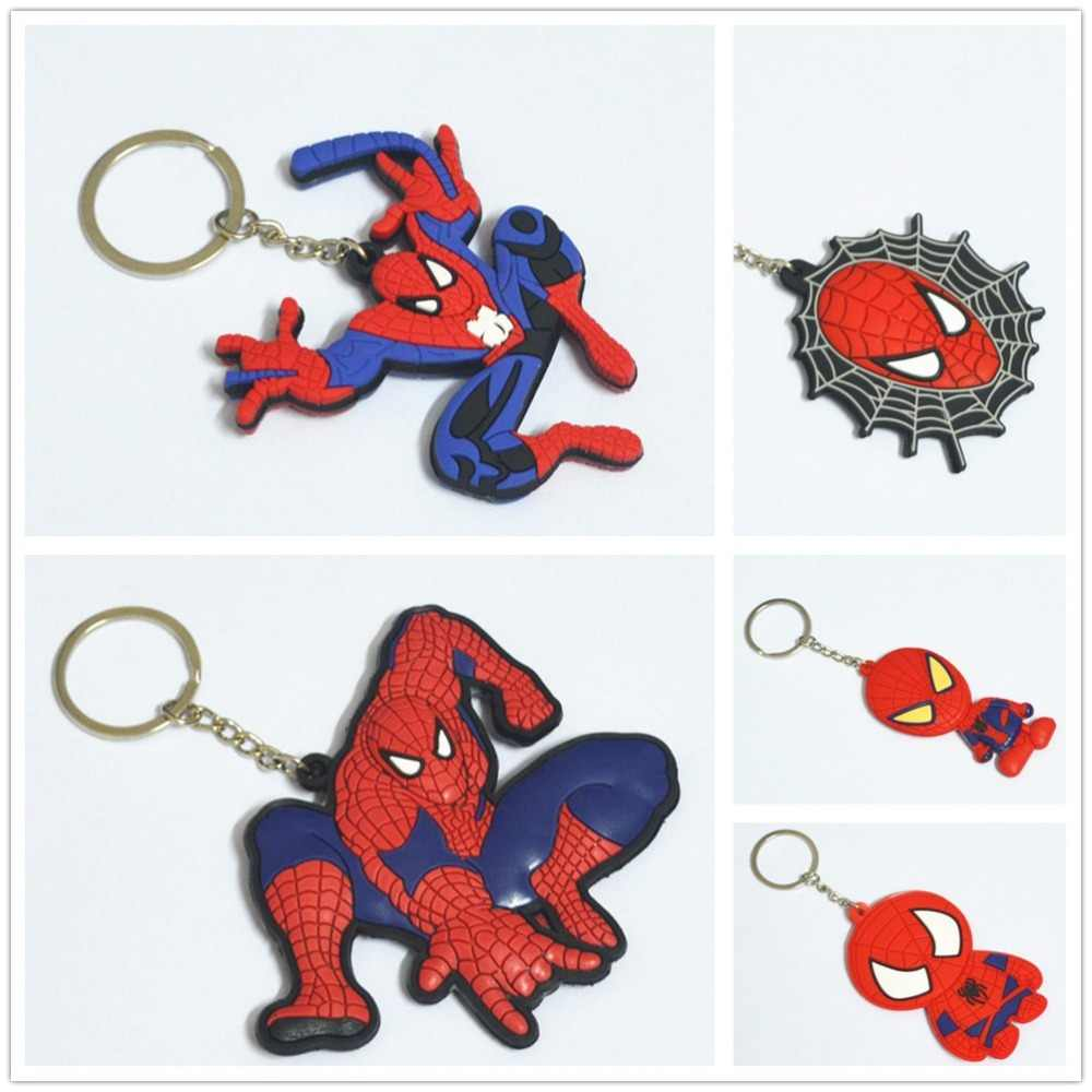 Spiderman Superhero Spider-Man do Regresso A Casa Chave Pingente Anel Keychain DO PVC Anime Action Figure Kids Brinquedos