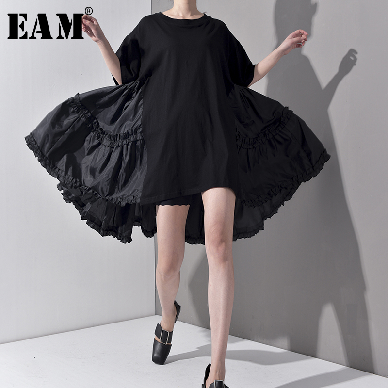 [EAM] 2020 New Spring Summer Round Neck Half Sleeve Pleated Split Joint Loose Oversize Big Size Dress Women Fashion Tide JS7910