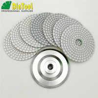 """Diatool 7 pces 4 """"/100mm diamante molhado flexível branco resina bond polimento almofadas com backer borracha ou alumínio baseado 4in disco de lixamento"""