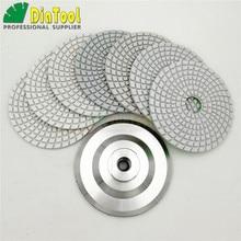 DIATOOL 7pcs 4/100MM Diamond Wet Flexible White Resin Bond Polishing Pads With Backer Rubber Or Aluminum Based 4in Sanding Disc
