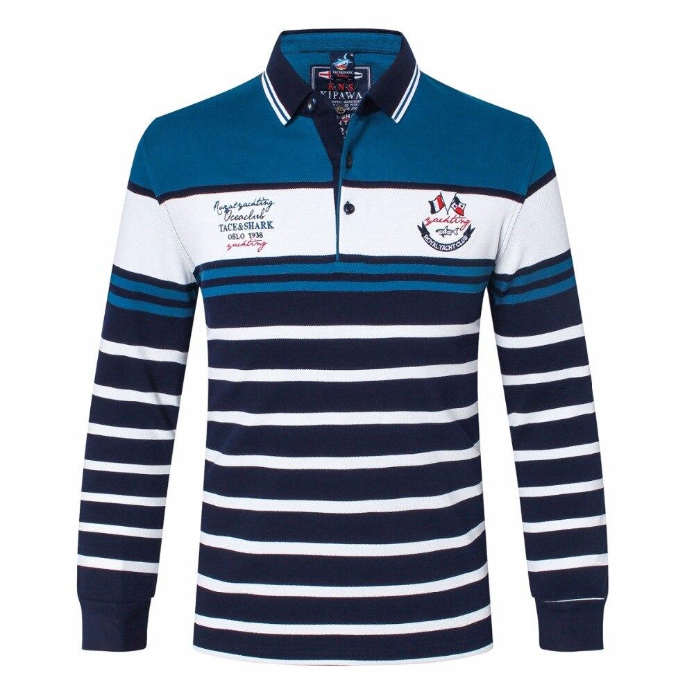 T shirt de Marque vêtements Tace & shark Hommes t-Shirt billionaire Hommes revers brodé t-shirt Coton business casual manches longues
