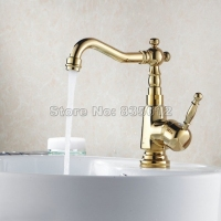 Bathroom Single Handle Basin Faucet Swivel Spout Vessel Sink Mixer Tap Gold Color Brass Finish Wgf003