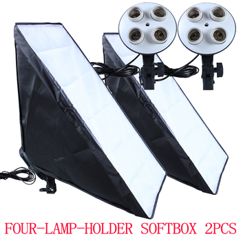 100-240v Photography Four Socket Lamp Holder With 50*70cm Continuous Lighting Softbox 2pcs not include Light Stand