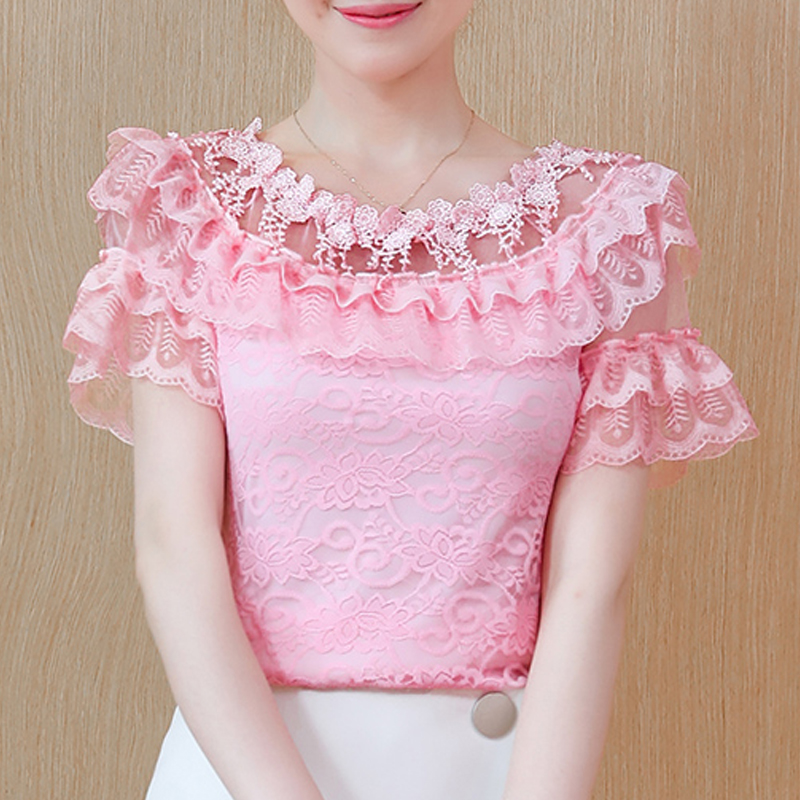 New Fashion lace   Blouses     shirt   summer   blouse   Ruffle Lace chiffon sexy o-neck short sleeve lace Three-dimensional flower 192J3