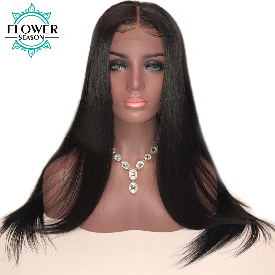 Pre Plucked 13x6 Silky Straight Lace Front Human Hair Wigs With Baby Hair Bleached Knots Peruvian Remy Hair FlowerSeason
