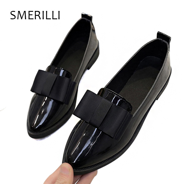 IF FEEL 2018 Women Shoes Smooth Leather Pointed Toe Oxford Shoes for Women spring autumn butterfly-knot Casual Flats Slip on cootelili 36 40 plus size spring casual flats women shoes solid slip on ladies loafers butterfly knot pointed toe soft shoes