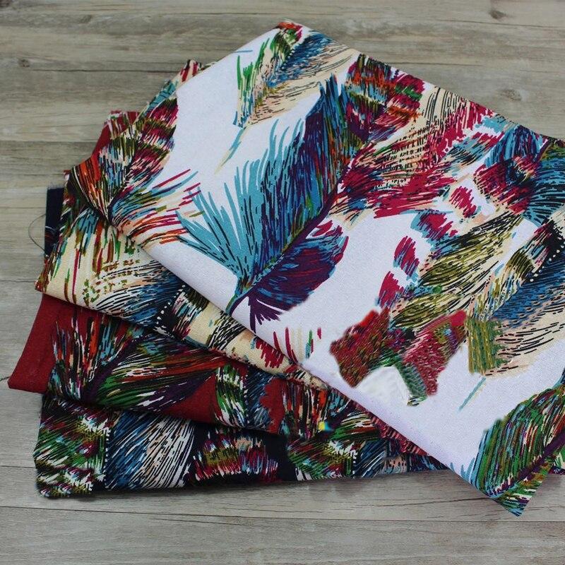 100140cm Feather Print Fabric Cotton Linen Patchwork