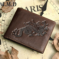 2016 new brand Genuine Leather Wallets dragon style head cowhide men's wallet purse removable card holder  carteira freeshipping