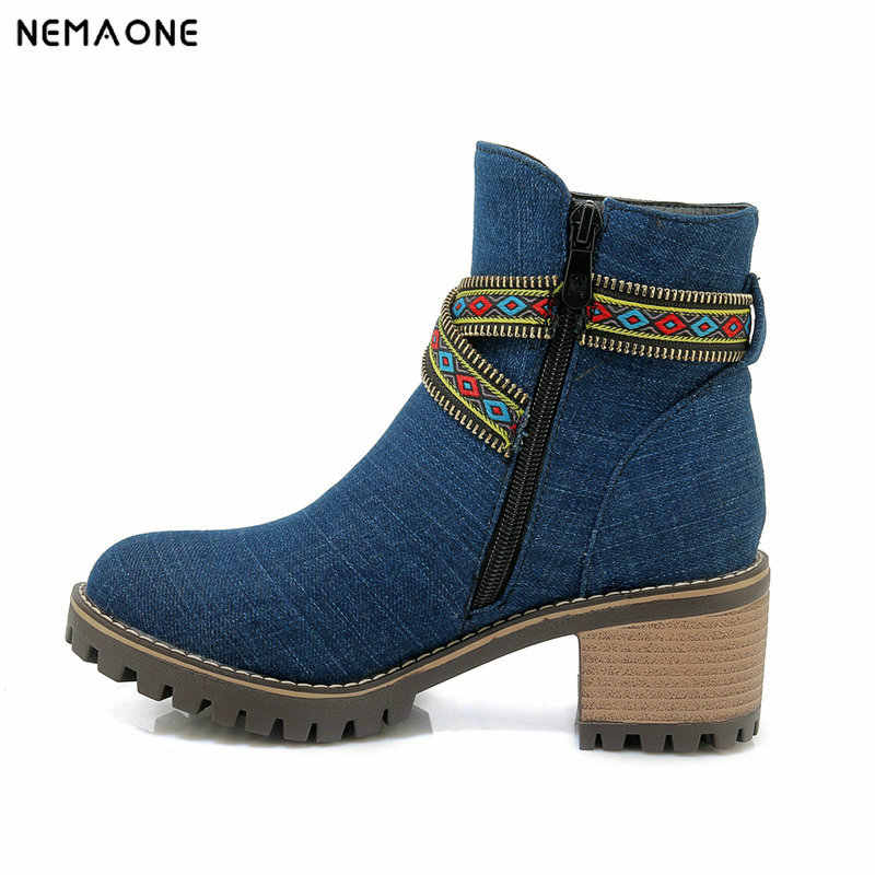 NEMAONE Yeni denim yüksek topuklu bayanlar yarım çizmeler kadın rahat ayakkabılar sonbahar kış sıcak kadın botları büyük boy 43