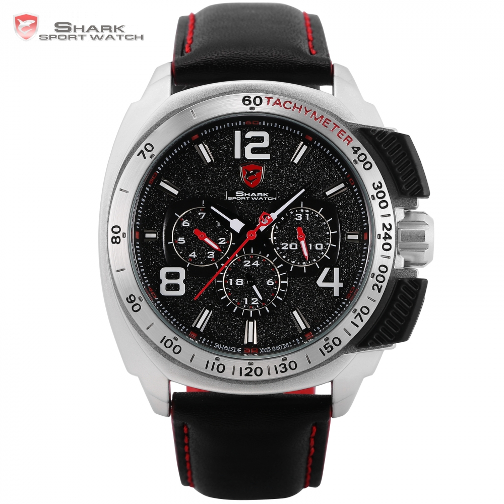 Tiger SHARK Sport Watch Brand Silver Case Date Function Leather Band Men Casual Quartz Movement Luxury Wristwatch Gift / SH418