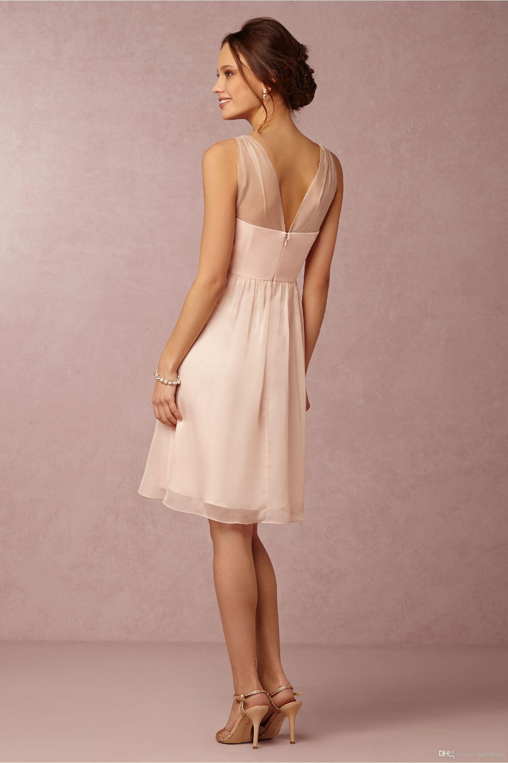 Cheap blush pink short bridesmaid dresses a line chiffon junior cheap blush pink short bridesmaid dresses a line chiffon junior bridesmaid gowns v neck tank sleeveless backless zipper sexy in bridesmaid dresses from ombrellifo Choice Image