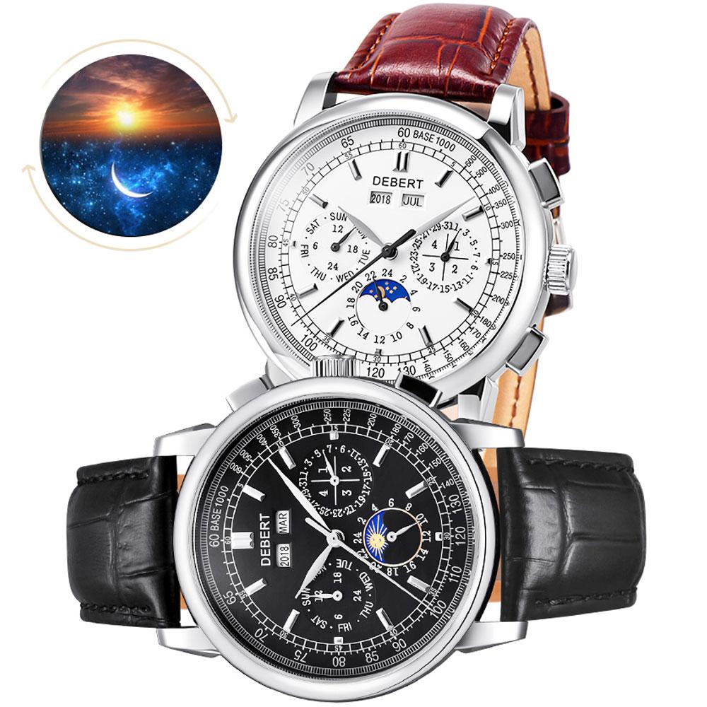relogio masculino Debert Watch Men Military Automatic Watch Mens Watches Top Brand Luxury Leather Sports Wristwatch Date Clock цена
